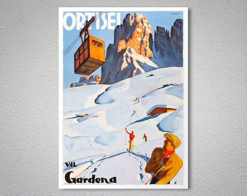Ortisei Val Gardena viaggio Vintage sci Poster Poster  52297270c6ef