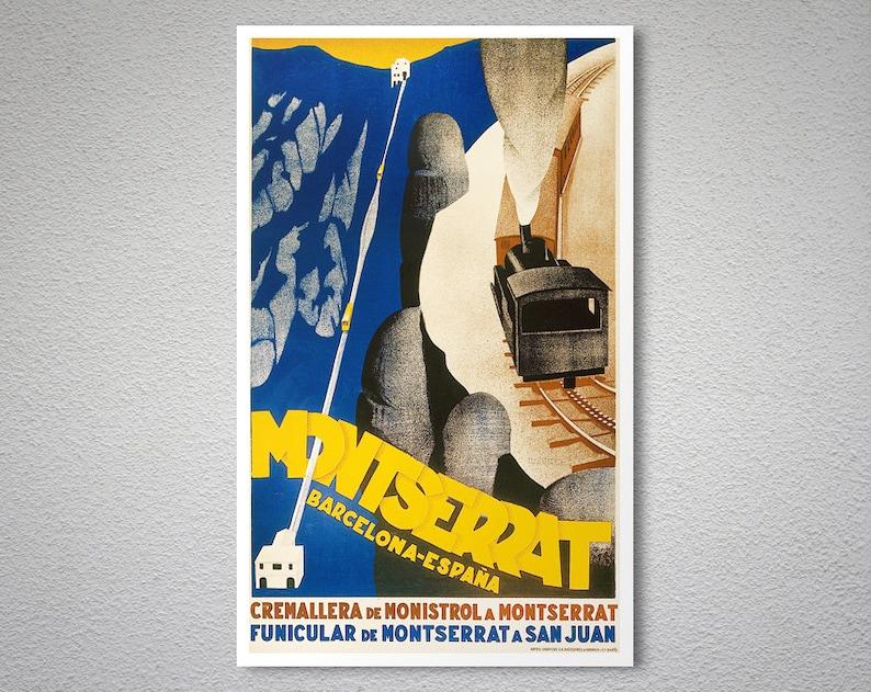 Montserrat Barcelona Espana Vintage Travel Poster - Poster Print, Sticker  or Canvas Print / Gift Idea / Christmas Gift