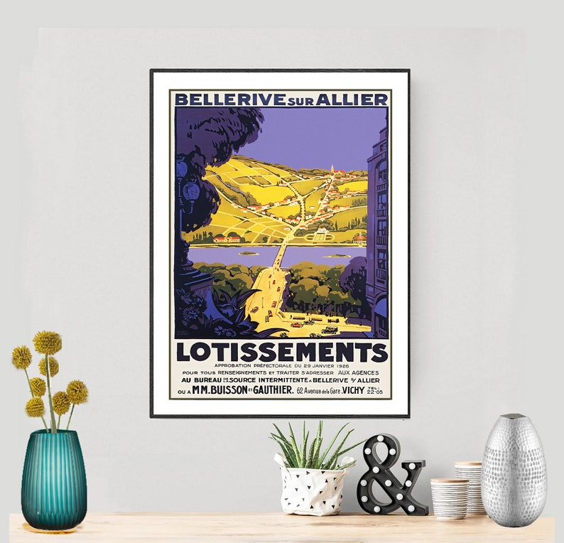 Bellerive sur Allier Lotissements Vintage Travel Poster Sticker or Canvas Print  Gift Idea  Wall Decor Poster Paper