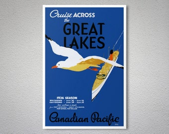 Cruise Across the Great Lakes - Canadian Pacific Vintage Travel Poster - Poster Print, Sticker or Canvas Print / Gift Idea