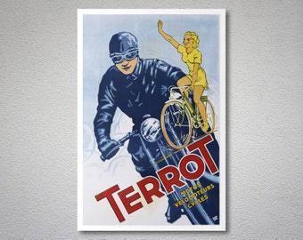 Terrot Motos Vintage Motorcycle Poster - Poster Print, Sticker or Canvas Print / Christmas Gift