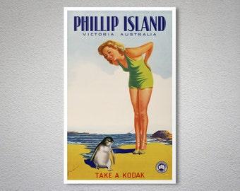 Phillip Island Vintage Travel Poster - Poster Print, Sticker or Canvas Print / Gift Idea