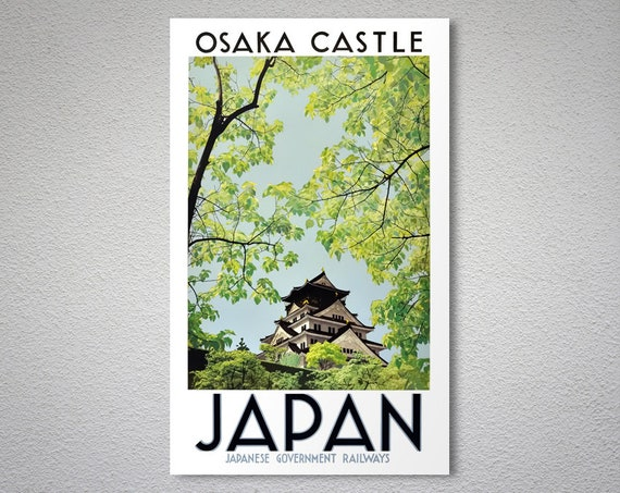 Japanese Railway Travel Poster reproduction. Osaka Castle Japan