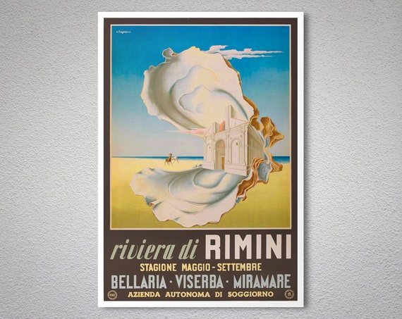 Riviera di Rimini, Stagione Maggio Vintage Travel Poster - Poster Paper,  Sticker or Canvas Print / Gift Idea / Christmas Gift