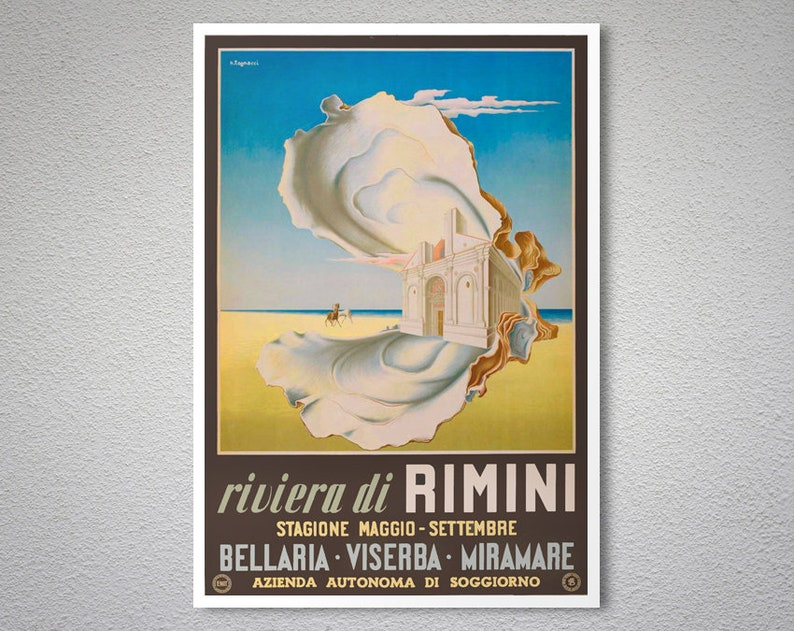 Riviera di Rimini, Stagione Maggio Vintage Travel Poster - Poster Paper,  Sticker or Canvas Print / Gift Idea / Christmas Gift