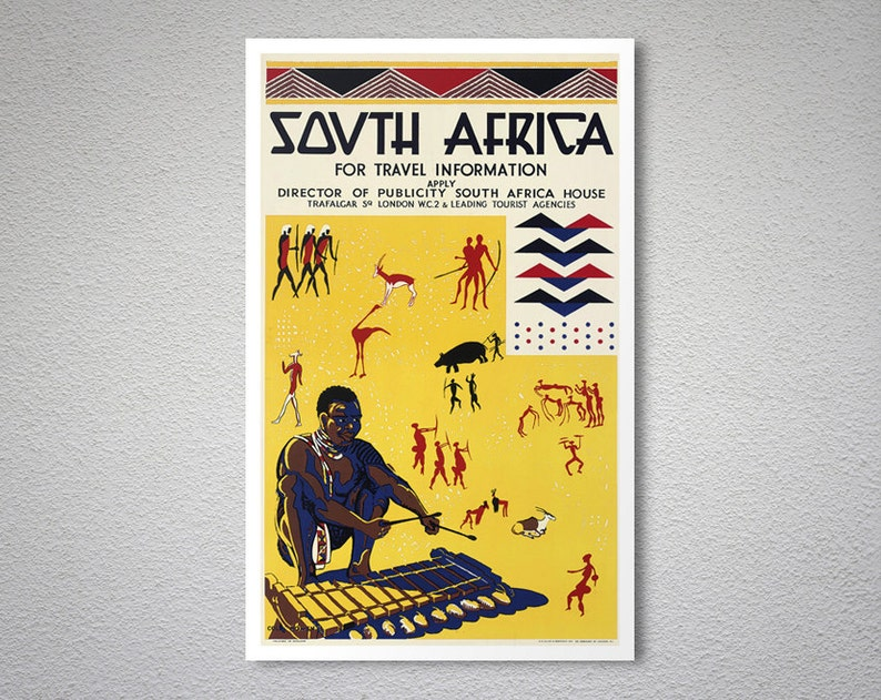 4ceadcbda3 South Africa Vintage Travel Poster Poster Paper Sticker or