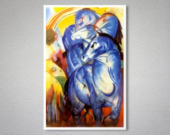 Franz Marc - The Tower of Blue Horses -   Poster - Poster Print, Sticker or Canvas Print / Gift Idea