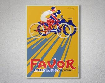 Favor Cycles&Motos de Grande Luxe - Vintage Bicycle Poster - Poster Print, Sticker or Canvas Print / Gift Idea