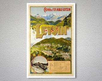 Leysın, Chemin de Fer Aigle-Leysin  Vintage  Travel Poster -  Poster Print, Sticker or Canvas Print / Gift Idea