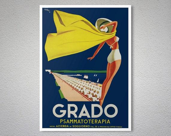 Grado Italien Vintage Reise Poster Plakat-Druck Aufkleber   Etsy