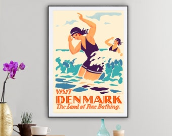 Visit Denmark, The Land of Fine Bathing Vintage Travel Poster - Poster Paper, Sticker or Canvas Print / Gift Idea
