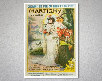 Martigny  Vosges, Chemin de Fer du Nord Vintage Travel Poster - Poster Print, Sticker or Canvas Print / Gift Idea