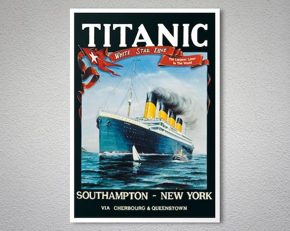 A0 A1 A2 A3 A4 Sizes The Titanic Vintage Framed Large CANVAS PRINT
