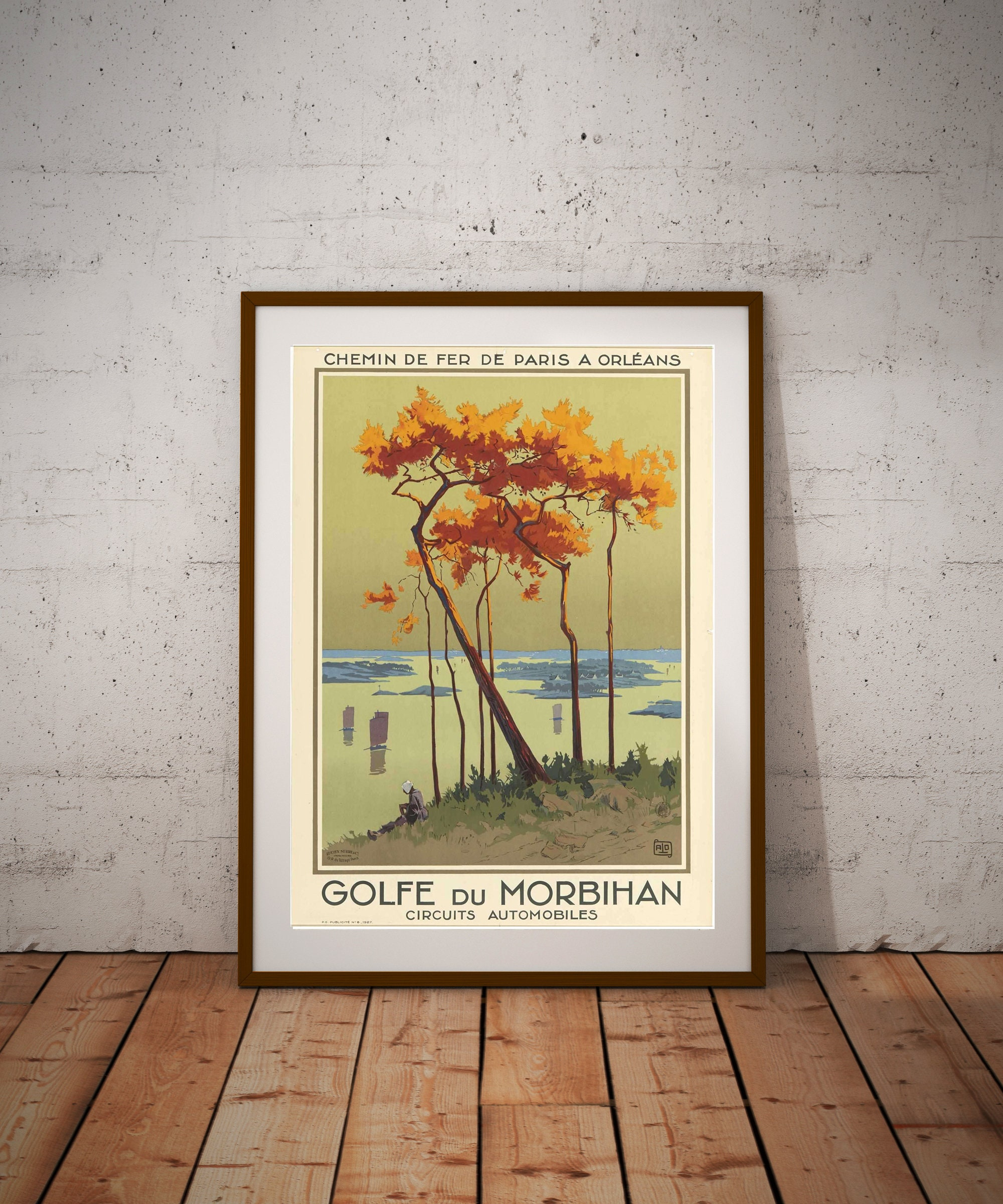 golfe du morhiban vintage travel poster poster sticker or canvas print gift idea christmas gift