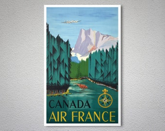 Canada - Air France - Airline Travel Poster - Poster Print, Sticker or Canvas Print / Christmas Gift