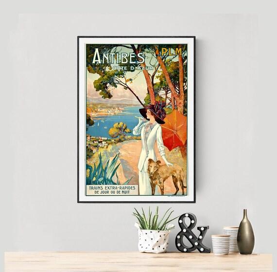 Antibes Cote d/'azur  Deco Travel Poster Print