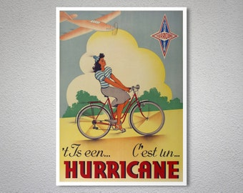 C'est un Hurricane Vintage Bicycle Poster - Art Print - Poster Print, Sticker or Canvas Print / Gift Idea