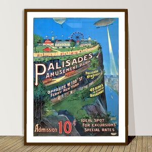 20x30 1937 Palisades Amusement Park Vintage Advertising PinUp Poster