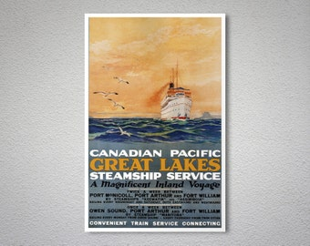Canadian Pacific Great Lakes Steamship Service Vintage Poster - Poster Print, Sticker or Canvas Print / Gift Idea