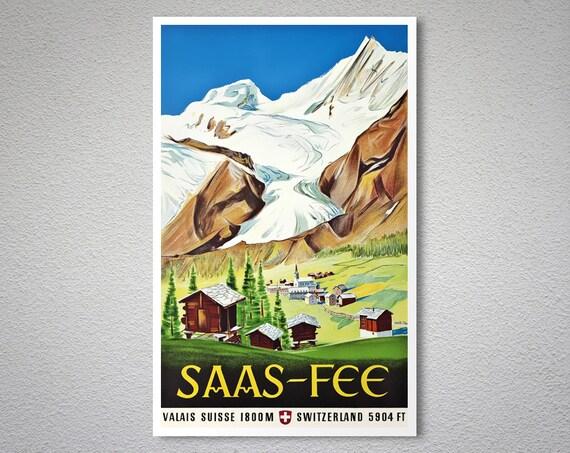 Saas Fee Valais Suisse 1800 M Vintage Travel Poster 1947 Etsy