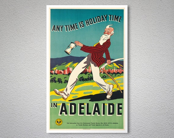 The Lights of Adelaide South Australia Vintage Travel Advertisement Poster Print