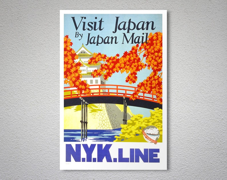 Visit Japan by Japan Mail - N Y K  Line (Nippon Yusen Kaisha) Vintage  Travel Poster - Poster Print, Sticker or Canvas Print / Gift Idea