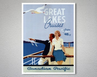 Great Lakes Cruises, Canadian Pacific Travel Poster - Poster Print, Sticker or Canvas Print / Gift Idea