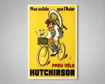 Pneu Velo Hutchinson Vintage Bicycle Poster by Mich, 1910 - Poster Print, Sticker or Canvas Print / Gift Idea