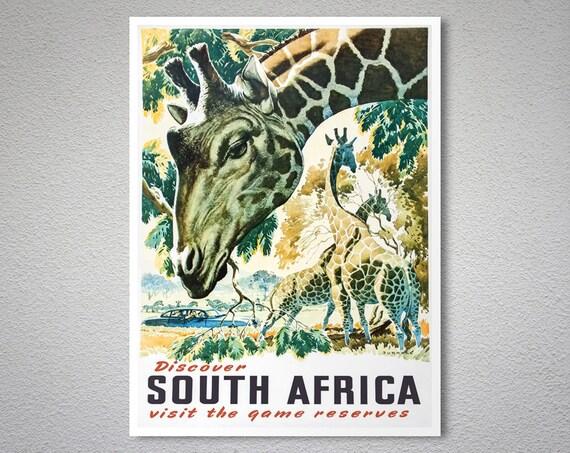 eca0af44b8 Discover South Africa Vintage Travel Poster Poster Print