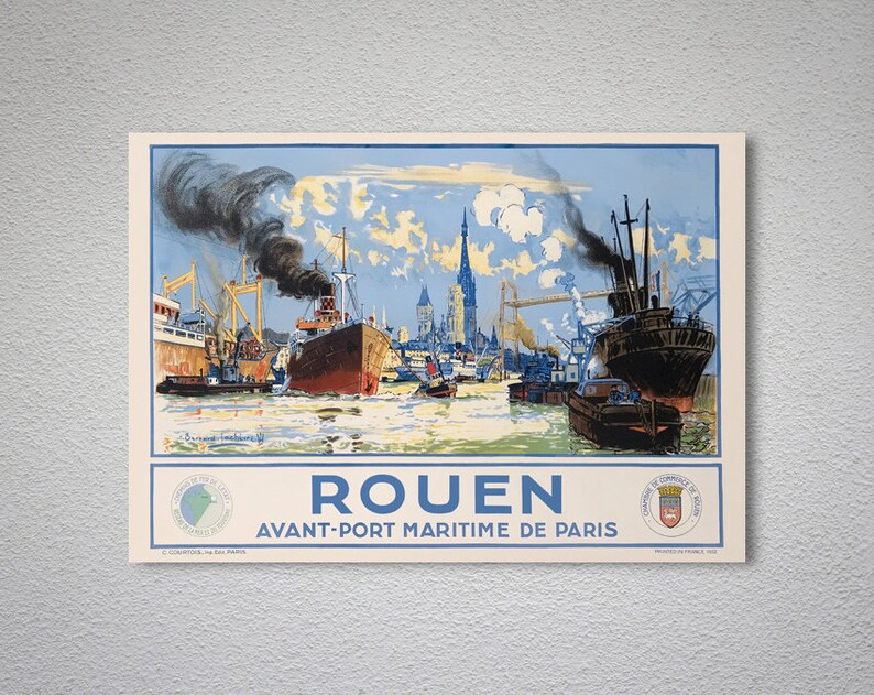 Rouen, France Vintage Travel Poster - Poster Print, Sticker or Canvas Print  / Gift Idea / Christmas Gift