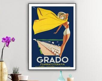 Grado Italy Vintage Travel Poster - Poster Print, Sticker or Canvas Print / Gift Idea / Wall Decor