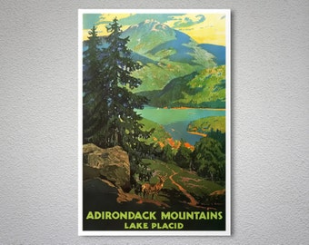 Adirondack Mountains - Lake Placid Vintage Travel Poster - Art Print Poster Print, Sticker or Canvas Print / Gift Idea