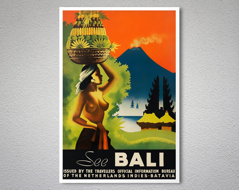 See Bali Vintage Travel Poster Poster Paper Sticker Or Etsy