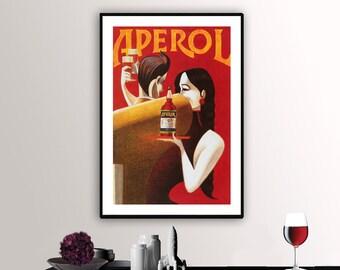 Aperol Liqueur  Vintage Food&Drink Poster - Poster Paper, Sticker or Canvas Print / Gift Idea