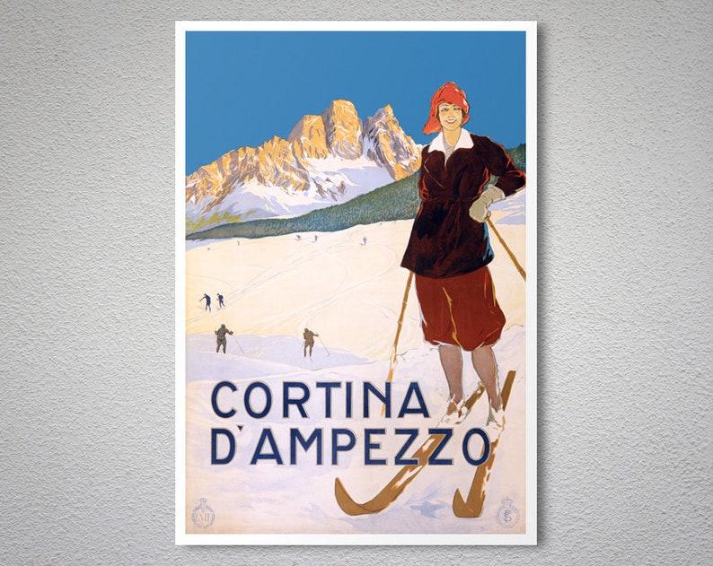Cortina d Ampezzo Italia sci Vintage Poster stampa di  8965fb752304