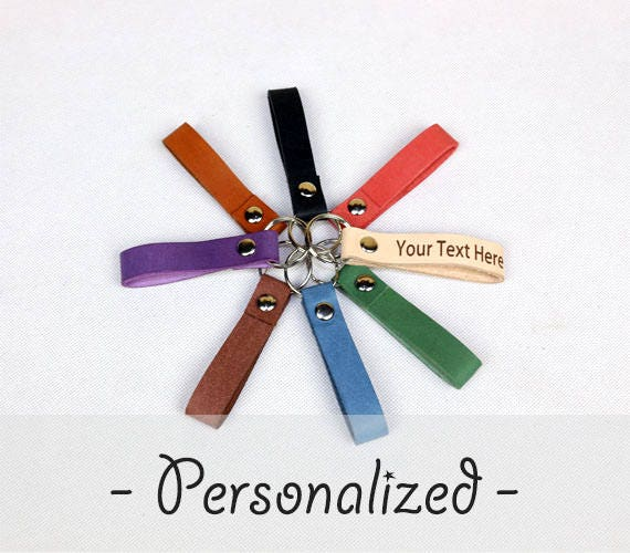 Personalized Keychains - Handmade Genuine Leather Keychains - Personalized  Leather Key Fob - Gift Husband - Anniversary Gift - Gift for Dad