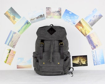 Gray Canvas Backpack
