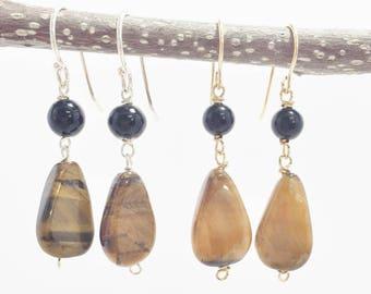 Brown Stone Earrings - Tiger's Eye Earrings - Wire Wrapped Stone - Boho Jewelry - Gold Earrings - Gemstone Earrings