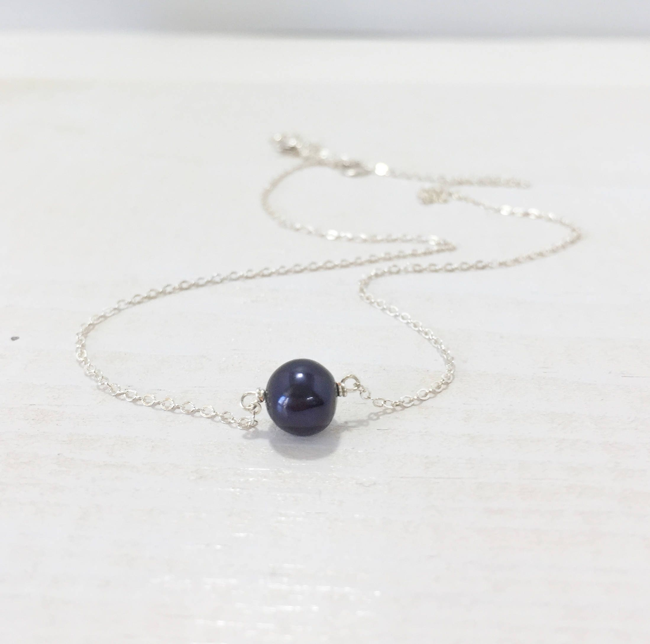 Solitaire Black Pearl Necklace On Delicate Silver Chain Simple