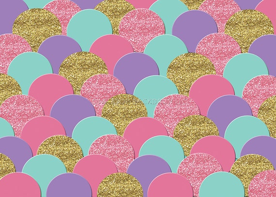Mermaid Scales Backdrop CF0041 onGlare Free Vinyl 7/' wide by 5/' tall