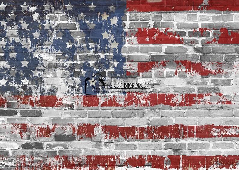 Grunge Brick Flag Backdrop PFLG012  on Glare Free Vinyl 7/' wide by 5/' tall.