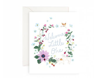 Welcome Little One Baby shower greeting card - Blue