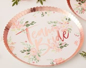 Hen Party Plates, FLORAL Hen Party Plates, Team Bride Plates,Paper Party Plates, Hen Party Paper Plates, Hen Party Accessories, Classy hen