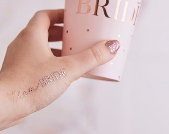 Rose Gold TEAM BRIDE Tattoos, Gold Tattoos, Hen Party Temporary tattoos,Hen Do Tattoos, Classy Hen Party, Hen Party Accessories
