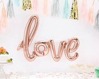 SALE - Love Balloon - Giant Love Script Balloon - Rose Gold Love Balloon - engagement balloon - valentines balloon