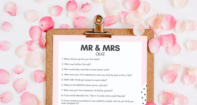 HEN PARTY GAME Instant Download Mr & Mrs Quiz Printable