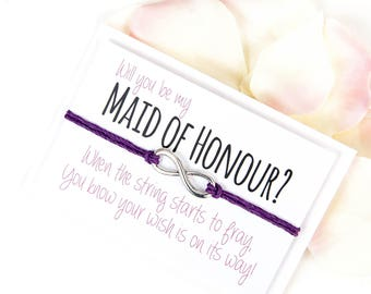SALE - Will you be my Maid of Honour Wish Bracelet - Maid of Honour Wish Bracelet - Maid of Honour Gift  - Wish Bracelet
