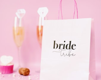 Pink Bride Tribe Gift Bag - Pink Hen Night Goody Bag - Hen Do Gift Bag - Paper Gift Bag