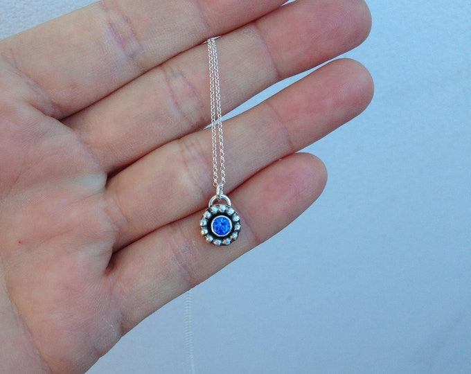 Blue topaz and sterling silver necklace silversmith handmade