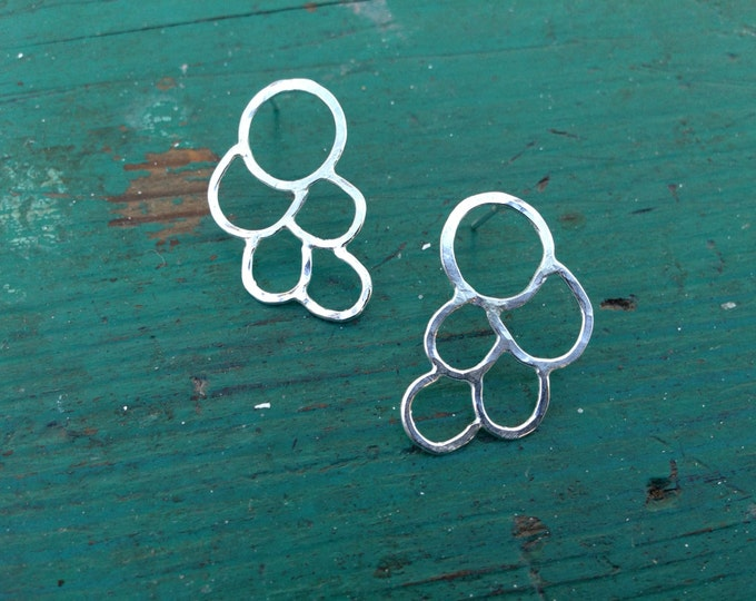 Sterling silver hammered handmade post earrings lightweight